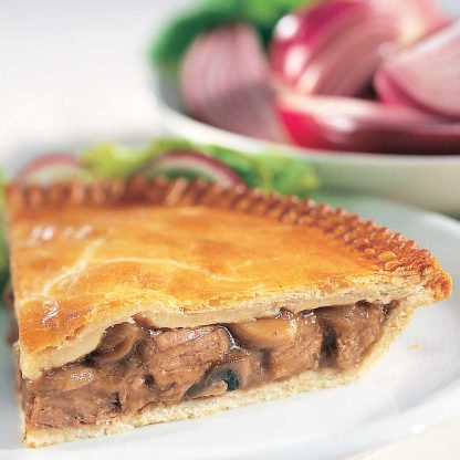 Steak and mushroom pie, available for home delivery