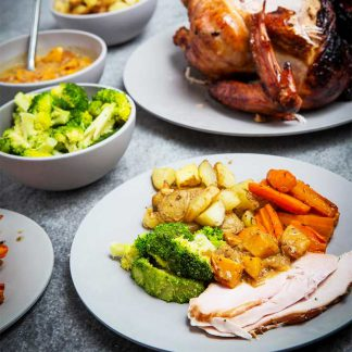 turkey, ham and stuffing dinner. Perfect for Easter and Christmas parties